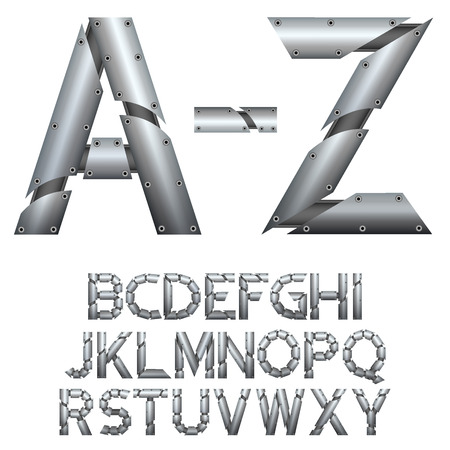 metal construction: Alphabet. Metal construction. Isolated on white background. Vector EPS 10.