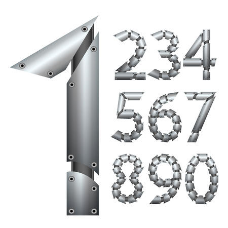 metal construction: Number. Metal construction. Isolated on white background. Vector EPS 10. Illustration