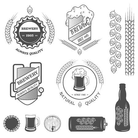 Brewing emblems and design elements.  Vector illustration. illustration