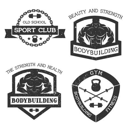 saludable logo: Conjunto de culturismo emblema y gimnasio. Ilustraci�n del vector.