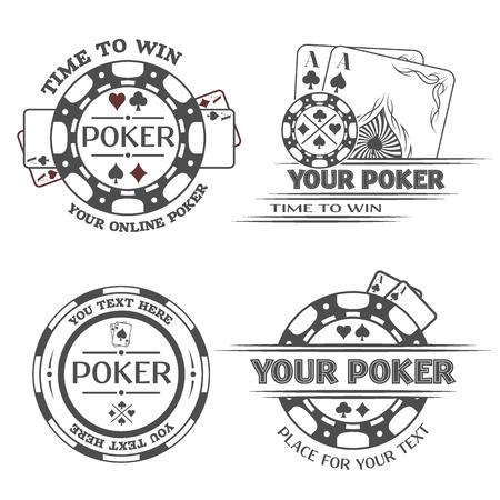 cartas poker: Establecer emblemas de póquer o ilustración vectorial lable.