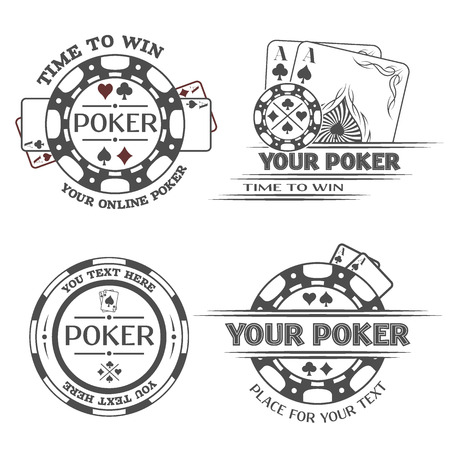 cards poker: Set poker emblems or lable Vector illustration.
