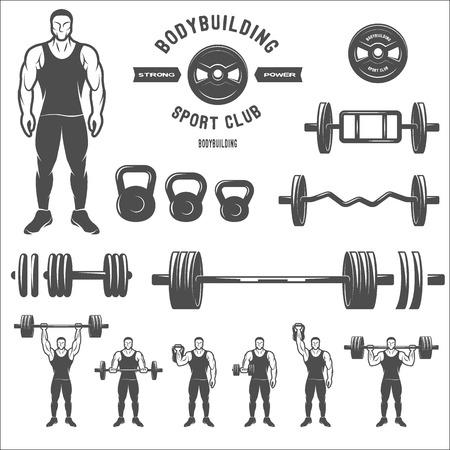 levantar pesas: Equipo para el culturismo y el ejercicio. Vectores