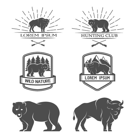 bison: Bison and bear Posters labels emblem