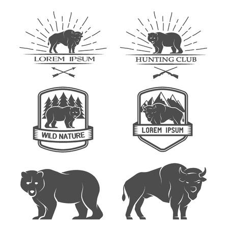 central park: Bisonte y oso Posters etiquetas emblema