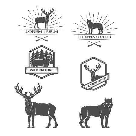 Herten en wolf Posters label embleem Vector illustratie.