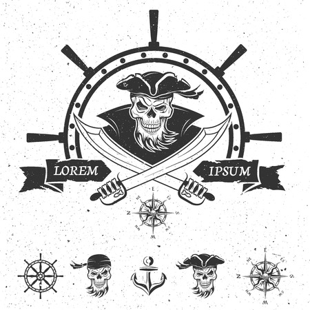 ahoy: Pirate emblem and design elements. Vector illustration. Illustration