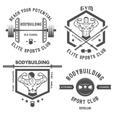 bodybuilding: Set of emblem posters  bodybuilding. Vector illustration.