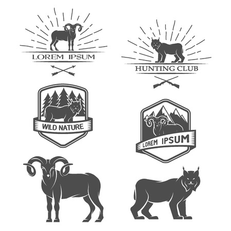 lynx: Sheep and lynx Posters labels emblem. Vector illustration.