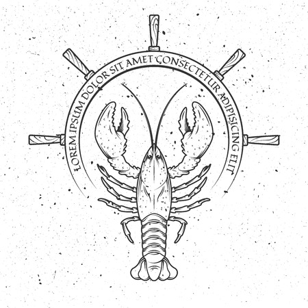 lobster, helm of the ship, and a place for text. Emblem, banners.  Vector illustration