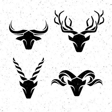 Logos horned animals Vector illustration. EPS 8.