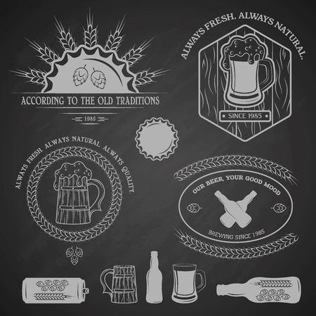 Beer emblems labels and design elements.  Vector illustration. Vector