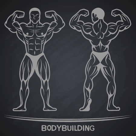 Bodybuilder in two positions on a dark background. Vector illustration