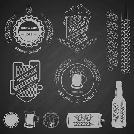 Brewing emblems and design elements.  Vector illustration.