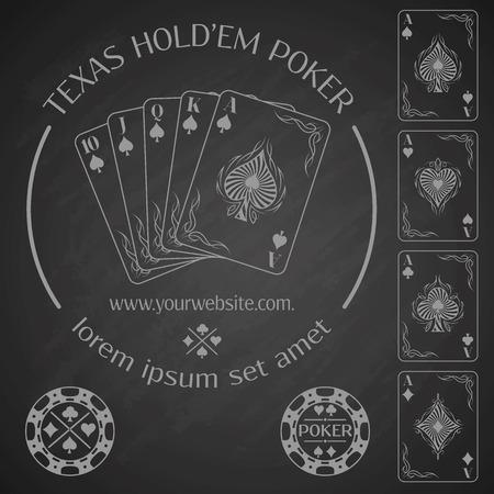texas hold'em: Poker emblem and design elements.  Vector illustration