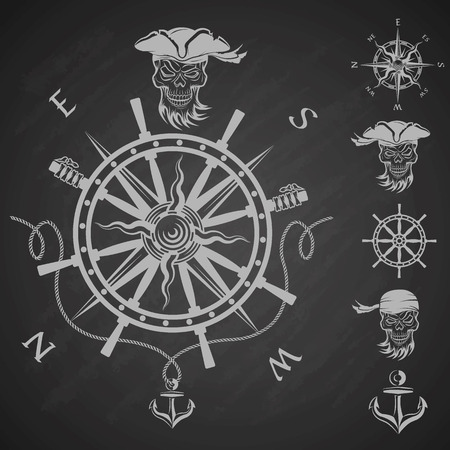 freebooter: Sea emblem and a set of pirate elements.  Vector illustration