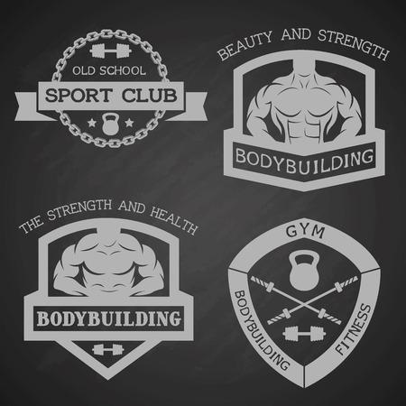 Set of emblem bodybuilding and fitness.  Vector illustration