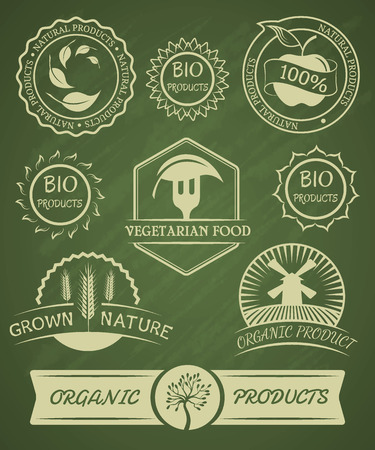 Set of organic badges and labels. Isolated background.  Vector illustration
