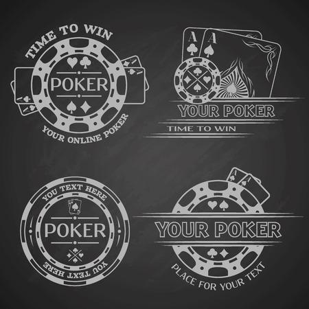 cartas poker: Establecer emblemas de póquer en un fondo oscuro. Ilustración del vector.