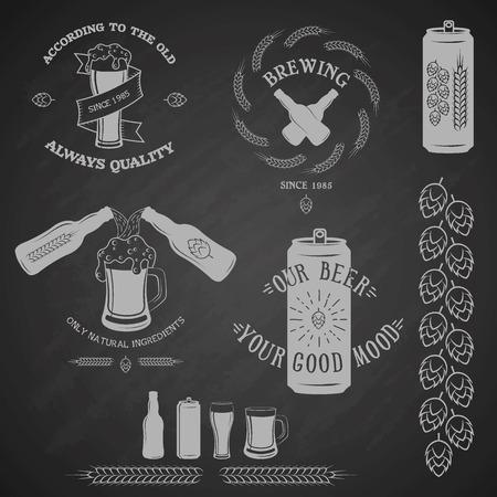 Vintage beer emblem and design elements.  Vector illustration. Vector