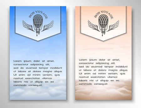 a place for the text: Banners on the theme for air travel and a place for text. On blurred background of clouds. Day and evening.