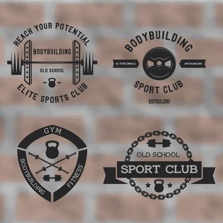 Bodybuilding black label set. Gym sport club badges. Illustration