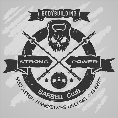 exercise equipment: Bodybuilding emblem in vintage style. Vector illustration.