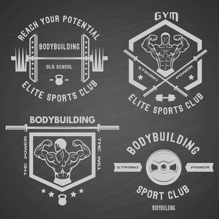 근육 체육관 스포츠 클럽 배지가 세팅 된 화이트 라벨 보디 빌딩.