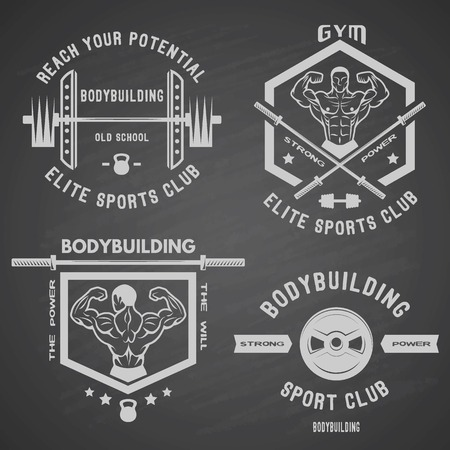 gym equipment: Bodybuilding white label set with muscle gym sport club badges. Illustration