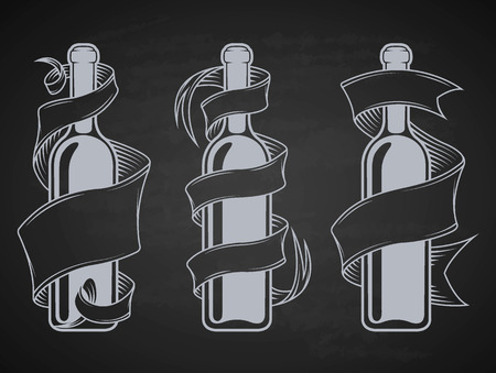 black grape: Set bottles with ribbon and place for text. Vector illustration. Illustration