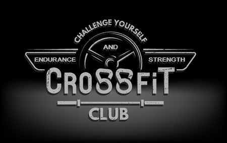 sports and fitness: CrossFit The tmblem in vintage style. Vector illustration. Illustration