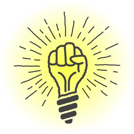 fresh idea: Fresh idea. lamp in the shape of a hand. Vector illustration.