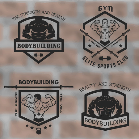 Emblems sports bodybuilding posing with athletes. Vector illustration.