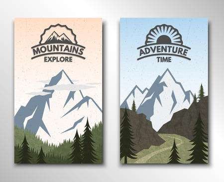 Two banners on the theme of travel and tourism. Vector illustration.