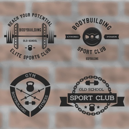 fitness center: Bodybuilding black label set .Gym sport club badges.
