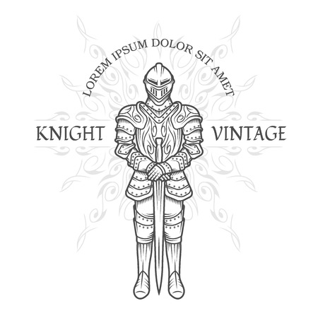 Medieval knight in armor with a sword. Vintage emblem. Vector illustration.