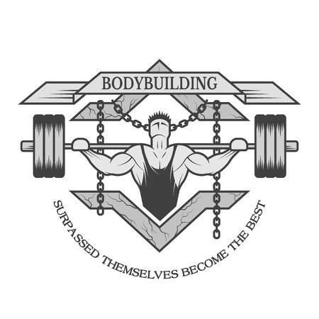 bodybuilding: Athlete barbell chain. Motivational emblem of bodybuilding.