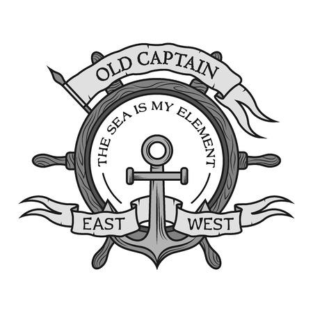 ancla: Ancla, volante de madera, cinta y una bandera para el texto. Emblema de Marina en el estilo vintage.