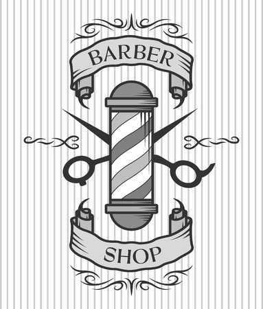 Barber shop emblem. Barber pole,scissors and ribbon for text in an old vintage style.