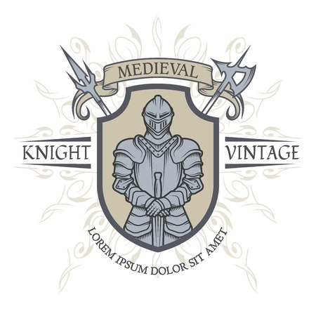 helmet: Knight in armor. The emblem in the style of the Middle Ages. Vector illustration.