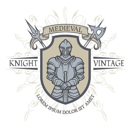 Ridder in harnas. Het embleem in de stijl van de Middeleeuwen. Vector illustratie.