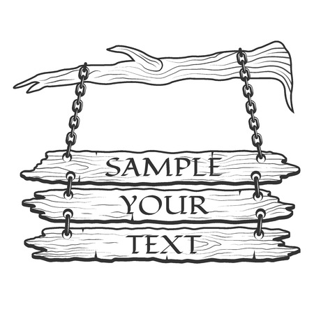 ligneous: Old wooden sign on the chains with space for text. Vector illustration. Illustration
