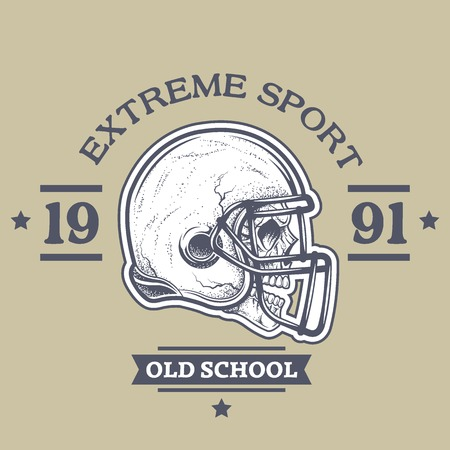 football: American football poster, emblem. The helmet and the skull with the dot texture.