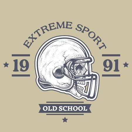 jugador de futbol: Cartel del fútbol americano, emblema. El casco y el cráneo con la textura de puntos.