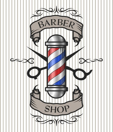 shop: Barber shop emblem. Barber pole,scissors and ribbon for text in an old vintage style. Option in color.
