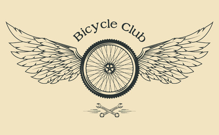 racing wings: Bicycle Wheel with feathers and wings vintage emblem in the classical style.