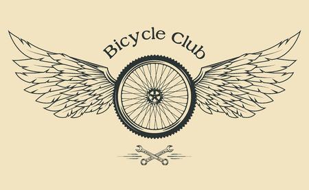 bicyclette: Roue de bicyclette avec des plumes et des ailes emblème vintage dans le style classique.