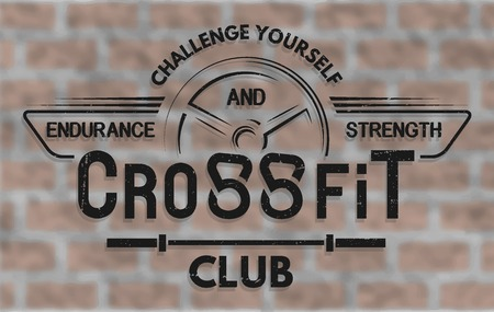 sports club: CrossFit. The emblem in vintage style. On brick wall background. Illustration