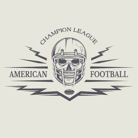 calavera: Plantilla emblemas de fútbol americano con un cráneo que lleva un casco. Vectores