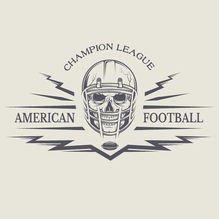 college football: Template emblems American football with a skull wearing a helmet.